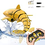 EsOfficce 2.4 GHz Remote Control Shark Toy , 1:18 Scale High Simulation Shark, RC Shark for Swimming Pool,UnderwaterRC Boat Toy Gift for Boys Girls Age 6+, Gold Yellow