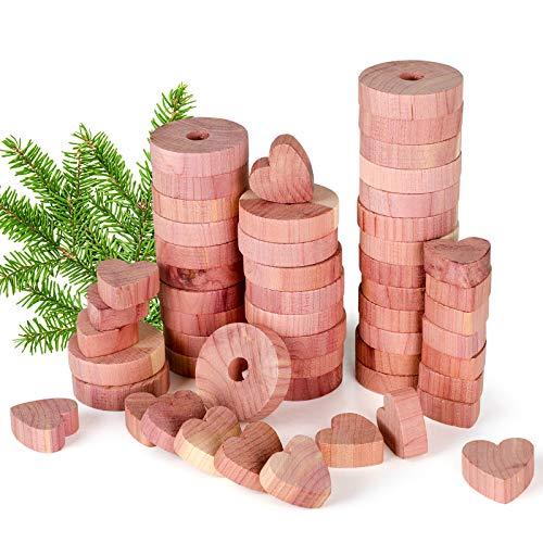 QUARED Madera de Cedro, Repelente Natural 54 Piezas Juego de Repelente contra de Polilla de Cedro Natural para Ropa Armario Cajones