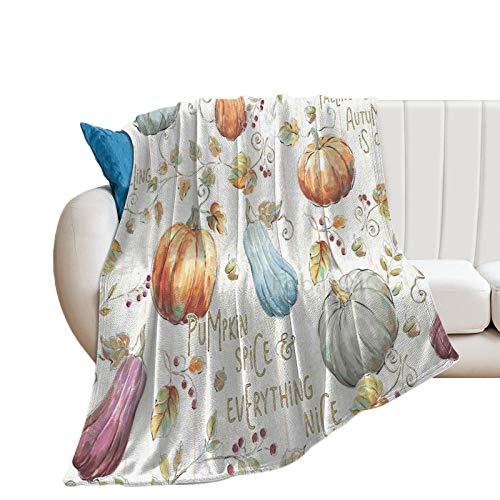 Manta de cama de tela de parche de calabaza, manta decorativa de 40 x 50 pulgadas, manta de felpa de terciopelo de franela suave