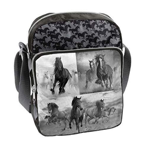 Ragusa-Trade Pferde Fan Mädchen Kinder - Handtasche Schultertasche Umhängetasche (17HO), grau/schwarz, 24 x 18 x 7 cm