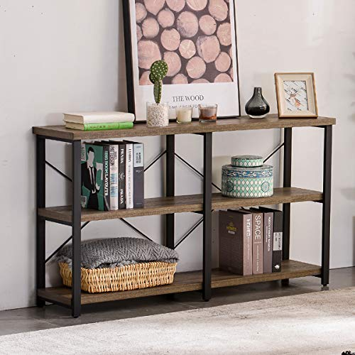 GRELO HOME Rustic Entryway Table, Tv Console Sofa Table with Storage for Living Room, 63 Inch Gray Oak