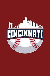 Cincinnati: Dot Grid Journal - Cincinnati Baseball Skyline Ohio Baseball Player Gift - Red Dotted Diary, Planner, Gratitude, Writing, Travel, Goal, Bullet Notebook