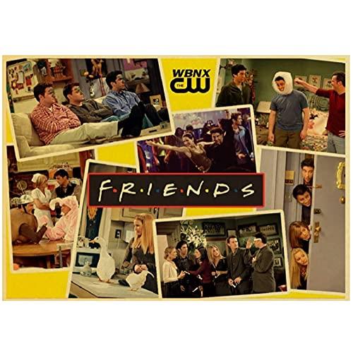 JLFDHR Serie TV Amici Film Drammatici Poster Vintage Decorazione della Stanza Pittura Cafe Hotel per Soggiorno Decorazione-60X80Cmx1 Senza Cornice