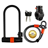 Cocoweb Sport Armbar Curl U-Lock with Lotuslock Bike Flex Loop Cable, Attachable Carrying Mount, and Weather Guard Protection - Armbar Curl Bike Lock Duo Combo - Orange (Curl) SL-SETCURL