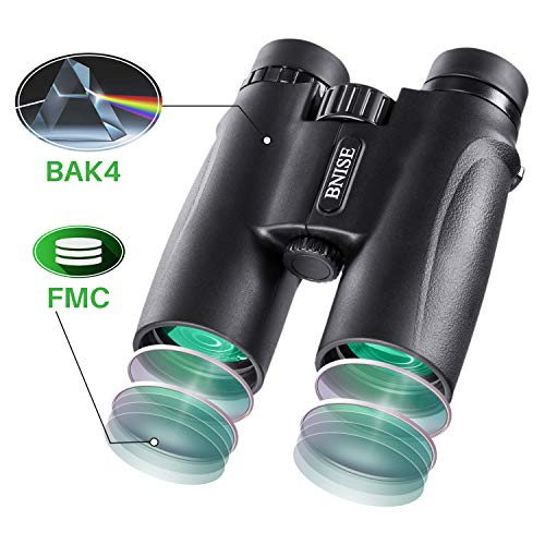 BNISE® -10x42 High Powered Magnification Binoculars - Bright and Clear Range of View - for Travel Bird Watching Astronomy Sports and Wildlife - with Case, Lens Caps, Strap, and Warranty - Black