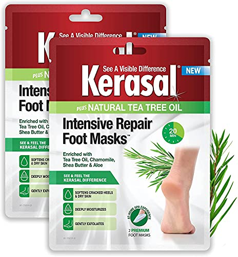 Kerasal Intensive Repair Foot Mask Foot Mask for Cracked Heels and Dry Feet, 2 Count, (Pack of 2)