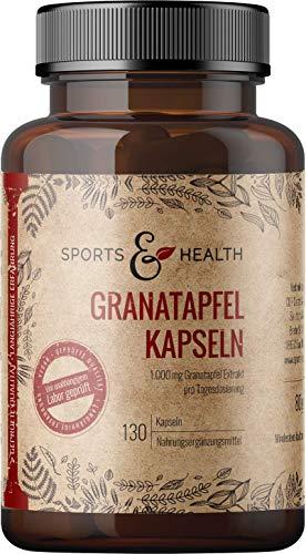Granatapfel Kapseln - 40{7db4637deec68665ae6f1c2f862a27e052653e72b34870d7f2f8abcdf479fae1} Ellagsäure - 130 vegane Kapseln aus Deutschland - 1500mg pro 3 Kapseln - Qualität Der Granatapfel Kapseln In Deutschland Geprüft