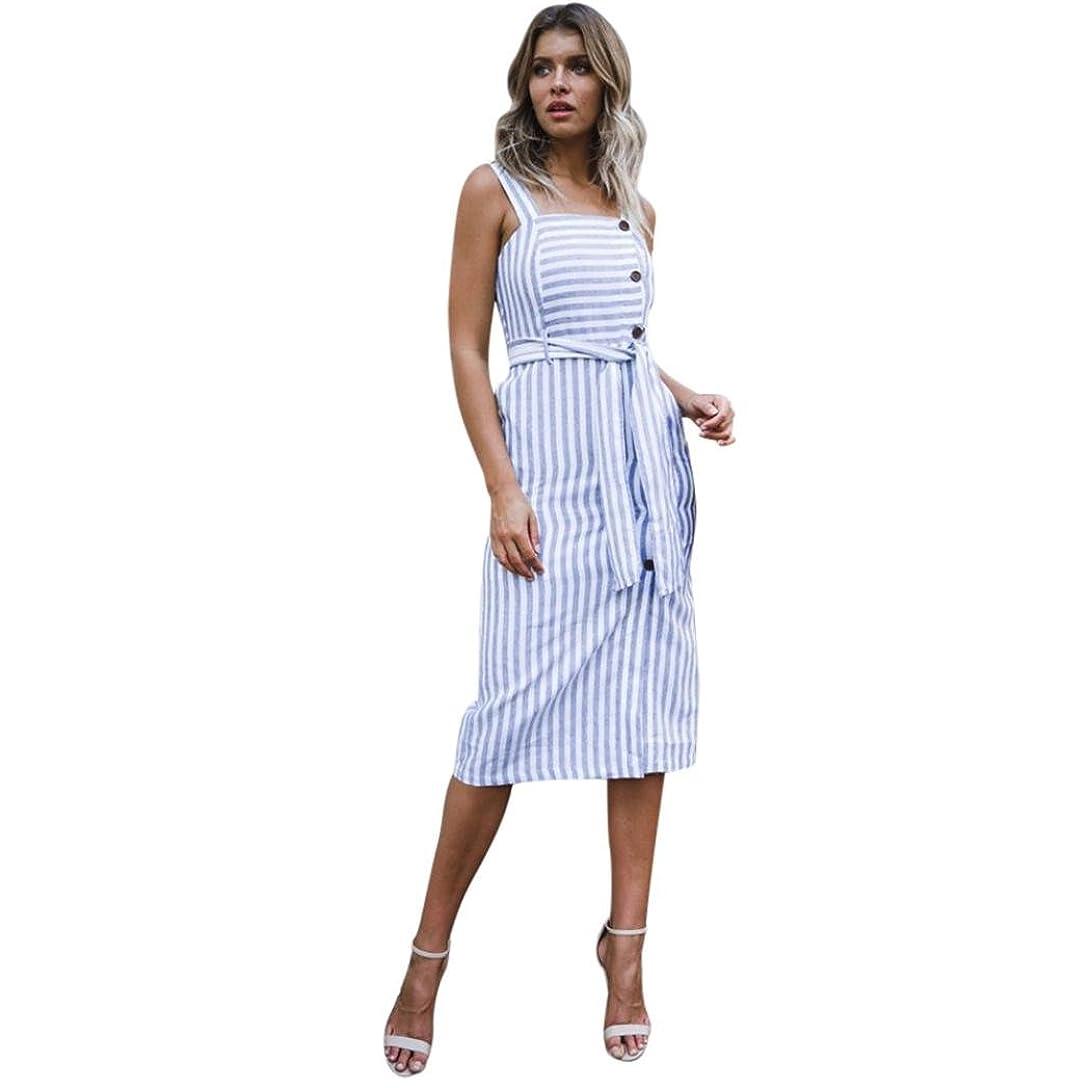 前名前を作る素敵なSakuraBest Womens Summer Striped Button Down Dress,Shoulder Strap Knee-Length Dress for Girls (S)