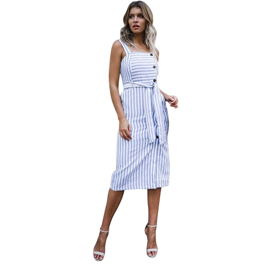 光沢数字効果的SakuraBest Womens Summer Striped Button Down Dress,Shoulder Strap Knee-Length Dress for Girls (S)