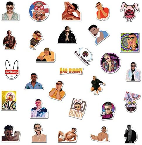 50 Pcs Larger Vinyl Waterproof Stickers for Laptop,Bumper,Water Bottles,Computer,Phone,Hard hat,Car Stickers and Decals,Bad Bunny Stickers for Hydro Gaekce Bad Bunny Stickers