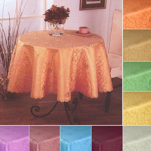 Damast tafelkleed in rozendesign ROND - grootte en kleur vrij te kiezen