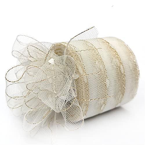 AJULING 6cm 25yardas Brillo Lentejuelas Tul Rolls Boda cumpleaños decoración de Malla Tela Tutu Vestido Bricolaje Organza del bebé (Color : Tulle White, Size : 1pc)