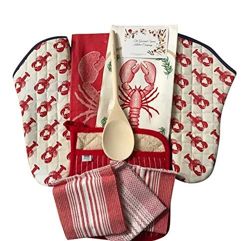 Lobster Themed Kitchen Towel Linen Set, Towels, Pot Holders, Oven Mitt, Wooden Spoon, 9 Piece Set