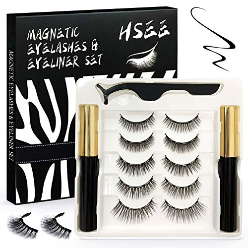 HSEE Updated 3D Magnetic Eyelashes with Eyeliner Kit - 2 Tubes of Waterproof Magnetic Eyeliner & 5 Pairs Magnetic Eyelashes Kit - Natural Look & Reusable False lashes - Light weight & No Glue Need