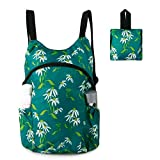 Green Flower Lightweight Packable Backpack with Zipper Pocket Foldable Hiking Daypack Water Resistant