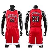Daoseng Juego de camiseta y pantalones cortos de baloncesto para niños de 2 piezas #23, Adulto-Rojo, XL/Adult Height 165-170CM