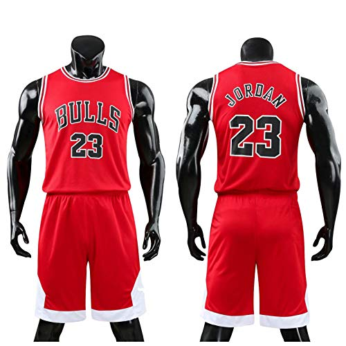 Daoseng Kinder Junge Herren Michael Jordan # 23 Chicago Bulls Retro Basketball Shorts Sommer Trikots Basketballuniform Top & Shorts Basketball Anzug (Rot, 2XL/Kind Höhe 155-165CM)