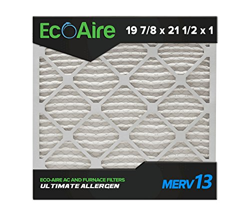 Eco-Aire 19 7/8x21 1/2x1 MERV 13, Pleated Air Filter, 19 7/8 x 21 1/2 x 1, Box of 6, Made in The USA