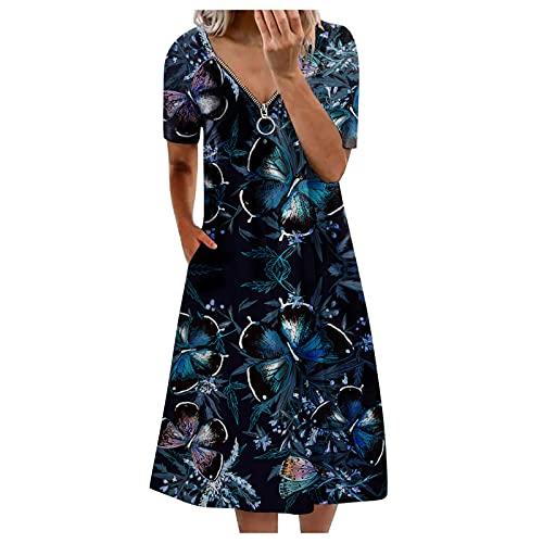 BIBOKAOKE Vestido informal para mujer de cóctel con cremallera, cuello en V, estampado floral, vestido de verano, vestido suelto, túnica, vestido de línea A, vestido de swing, vestido blusa.