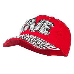 Red Rhinestone Jeweled Baseball Cap