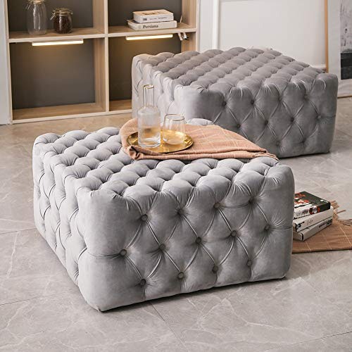 INMOZATA Foot Stool Grey Chesterfield Footstool Ottoman Velvet PouffeFoot Rest Chair Seat for Bedroom Living Room Sofa,62x62x44cm