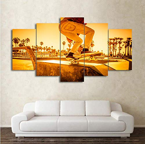 Vijf decoratieve schilderijen voor het landschap van de zonsondergang van de slee van de wanddecoratie voor thuis 40x60cm 40x80cm 40x100cm Geen frame.