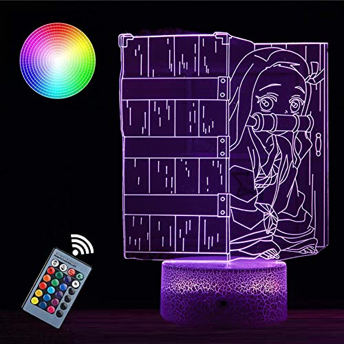 3D Illusion Night Lights for Kids Demon Slayer Lamp 16 Color Change Decor Lamp - Perfect Gifts for Kids and Room Room Decor