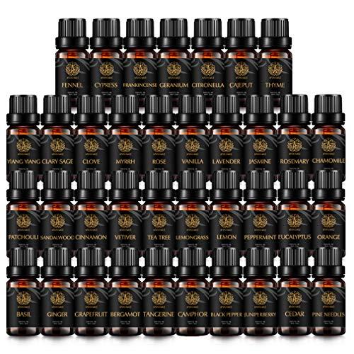 100% puro salvia aceite esencial set para difusor, aromaterapia aceite esencial kit para humidificador-populares 37 tipos de citronela, geranio, jengibre, jazmín, rosa, alcanfor.Aceite esencial Set