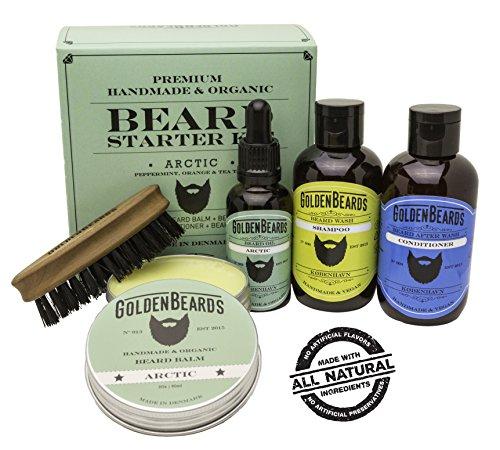 Kit Cuidado de Barba Kit 1 Caja de Regalo que contiene:1 Champú & Acondicionador 1 Aceite 1 Bálsamo y un Peine de viaje de máxima calidad. Olor a Menta, Naranja y Árbol de Té Arctic por Golden Beards