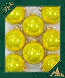 Christbaumkugeln aus Glas, 7 cm, Christbaumschmuck, Weihnachtskugeln (Gelb glänzend)