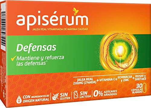 Apisérum Defensas Cápsulas - Jalea Real con Vitamina C,