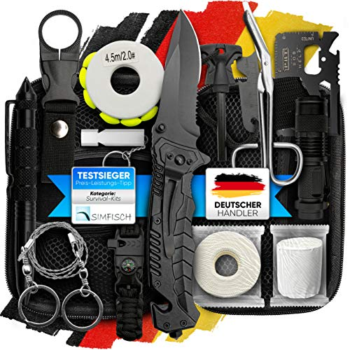 Jungle Monkey I Survival Kit I 13 teiligiges Premium Set I Messer I Taschenlampe I Outdoor Set I Ausrüstung für Wandern & Camping I Kit Survivalkit Equipment I Optimal ausgestattet