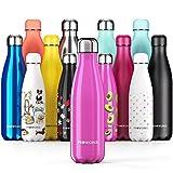 Proworks Bottiglia Acqua in Acciaio Inox, Senza BPA Vuoto Isolato Borraccia Termica in Metallo per Bevande Calde per 12 Ore & Fredde 24 Ore, Borraccia per Sport, Lavoro e Palestra - 500ml - Rosa
