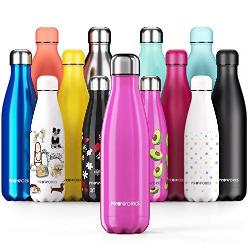 Proworks Botellas de Agua Deportiva de Acero Inoxidable | Cantimplora Termo con Doble Aislamiento para 12 Horas de Bebida Caliente y 24 Horas de Bebida Fría - Libre de BPA - 500ml – Rosa