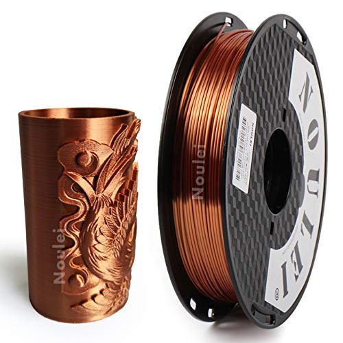 Noulei Filamento PLA per stampanti 3D, 1.75 mm, Shiny 3D Printing Filament Silk Copper 500g