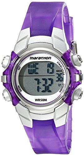 Marathon by Timex Unisex T5K816 Digital Mid-Size Purple/Silver-Tone Resin Strap Watch