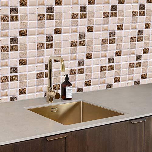 10er Crystal Fliesenaufkleber DIY Tile Aufkleber Wasserdichte Selbstklebende 3D Mosaik Küche Bad Wandaufkleber, Home Dekoration, 12 x 12cm (A)