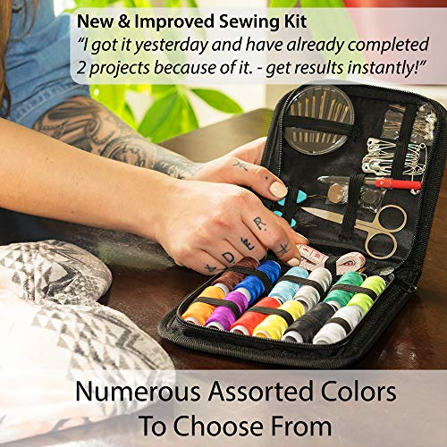 SEWING KIT – a NEEDLE and THREAD KIT for SEWING – Portable Basic Sewing Kits for Adults for On The Go Repairs – Travel Sewing Kit for Quick Fixes, a Small Sewing Kit with Multiple Color Threads