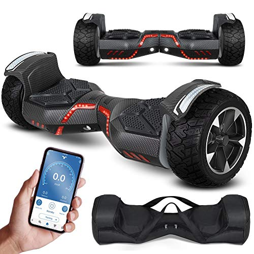 KESSER® Hoverboard 8,5 Zoll 800 Watt -K-HB-1201- mit APP Funktion, Bluetooth Lautsprecher, LED Licht, Kinder Sicherheitsmodus, Dual Motor, Smart Elektro Self Balance Board Hover E-Scooter, Carbon