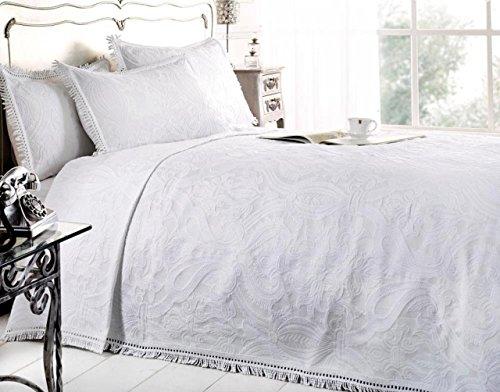 New Mafalda weiß Tagesdecke Portugiesisch Stil Sofa Bett Überwurf Mix Baumwolle, Weiß, Doppelbett by Emma Barclay