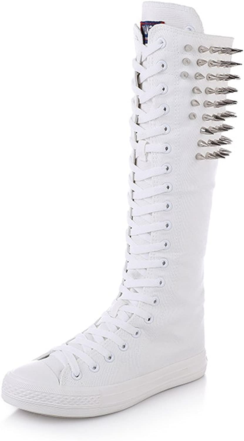 Stay real Women Girls Punk Silver Cone Rivets shoes Lace Zipper Knee High Boots Canvas shoes Dance shoes