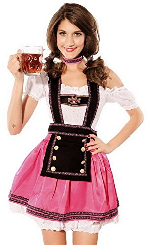 Moonight Womens Babe Beer Girl Bavarian Bar Maid Costume Size L Pink