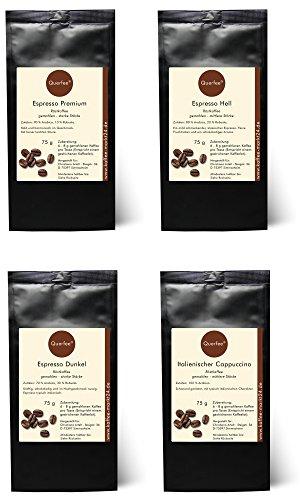4 x Espresso Geschenkset Probierset - Espresso Hell, Espresso Dunkel, Espresso Premium, Italienischer Cappuccino - Espresso Kaffee Set - 100 % Arabica - gemahlen - 4 x 75 g (300 g insgesamt)