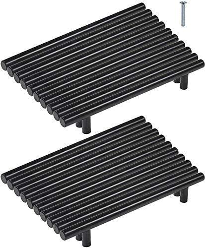 20 tiradores de muebles de acero inoxidable negro de 160 mm con barra en T para tiradores de muebles