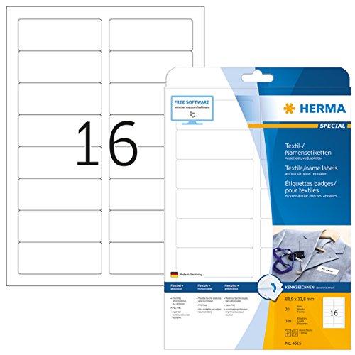 HERMA 4515 Namensetiketten DIN A4 ablösbar (88,9 x 33,8 mm, 20 Blatt, Acetatseide) selbstklebend, bedruckbar, rückstandsfrei abziehbare Namensaufkleber, 320 Klebeetiketten, weiß