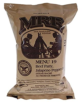 Beef Patty, Jalapeno Pepper Jack MRE Meal - Genuine US Military Surplus Inspection Date 2020 and Up