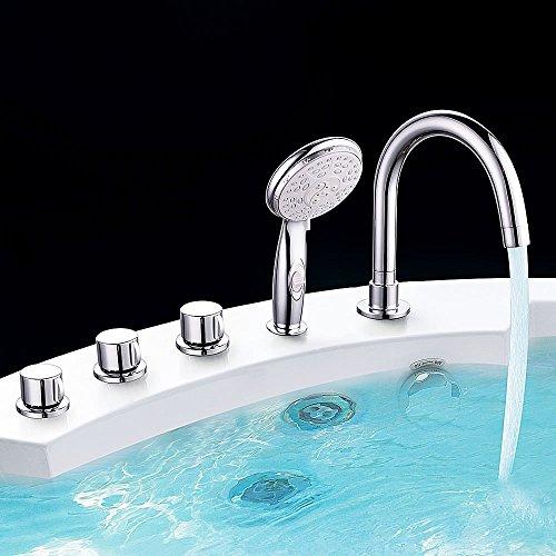 Melko Badewannenarmatur mit Handbrause 5-Loch Wannenrandarmatur Chrom Fliesenrandarmatur Aufsatz-Wasserfall-Badewannenarmatur