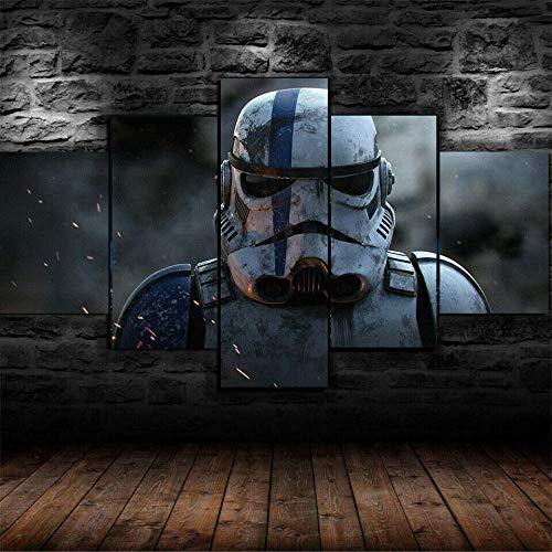 Impression sur toile, 5 panneaux muraux Storm Trooper Star...