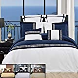 Royal Hotel 8PC King/Cal-King Astrid White/Navy Comforter Set Including Down-Alterntive Comforter