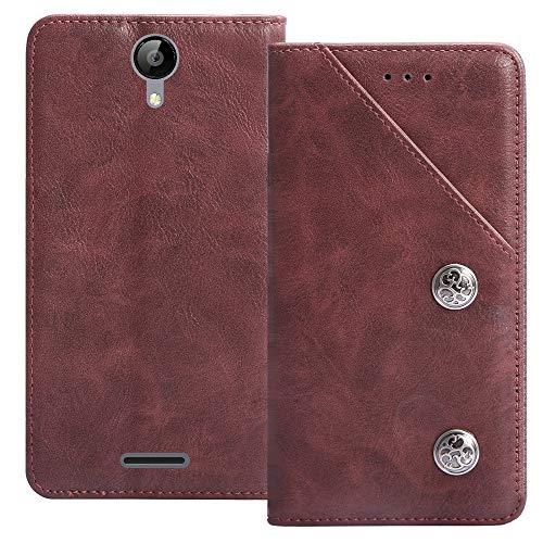 YLYT Flip TPU Silikon Schutz Hülle Hülle Für TP-Link Neffos C5A 5 inch Etui Rot Leder Tasche Handyhülle Hochwertiges Stoßfeste Kartenfach Cover